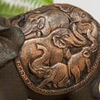 Elephant Sculpture Ornament - Two Elephants with trunks intertwined Bronze Effect